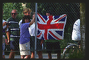 Banyoles, SPAIN, GB supporters behind the fence start  1992 Olympic Regatta, Lake Banyoles, Barcelona, SPAIN. 92 Gold Medalist.   [Mandatory Credit: Peter Spurrier: Intersport Images]