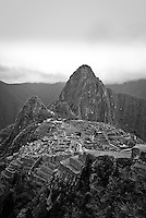 Looking down on the Lost City of the Incas, Machu Picchu in the Peruvian Andes