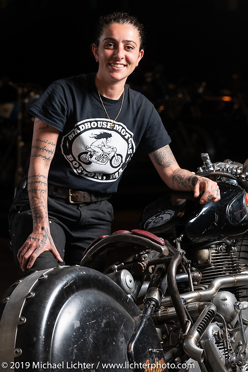 Madhouse Motors J Shia with her 1957 custom Royal Enfield Indian (Royal Enfield imported and rebadged as Indians after the Springfield factory was closed in 1953) bobber built out of J's Boston shop at the Handbuilt Show. Austin, Austin USA. Sunday, April 14, 2019. Photography ©2019 Michael Lichter.