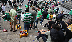 27 September 2017 Brussels: Celtic fans in the city centre before the Champions League match against Anderlecht: the steps of the Stock Exchange (La Bourse) are full of crates of beer and supporters: Photo: Mark Leech