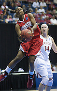 Ohio State guard Cherise Daniel goes up for a shot past Stanford's Kayla Pederson. Ohio State lost to Stanford on Saturday, March 28, 2009 at Haas Pavilion in Berkeley, Calif. (Photo by Kevin Bartram)