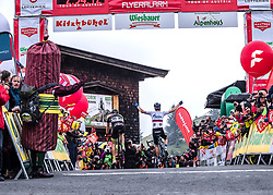 12.07.2019, Kitzbühel, AUT, Ö-Tour, Österreich Radrundfahrt, 6. Etappe, von Kitzbühel nach Kitzbüheler Horn (116,7 km), im Bild v.l. Patrick Schelling (Team Vorarlberg Santic)Aleksandr Vlasov (RUS, Gazprom - Rusvelo) Etappensieger // f.l. Patrick Schelling of Switzerland (Team Vorarlberg Santic) stage winner Aleksandr Vlasov of Russia (Gazprom - Rusvelo) during 6th stage from Kitzbühel to Kitzbüheler Horn (116,7 km) of the 2019 Tour of Austria. Kitzbühel, Austria on 2019/07/12. EXPA Pictures © 2019, PhotoCredit: EXPA/ Reinhard Eisenbauer