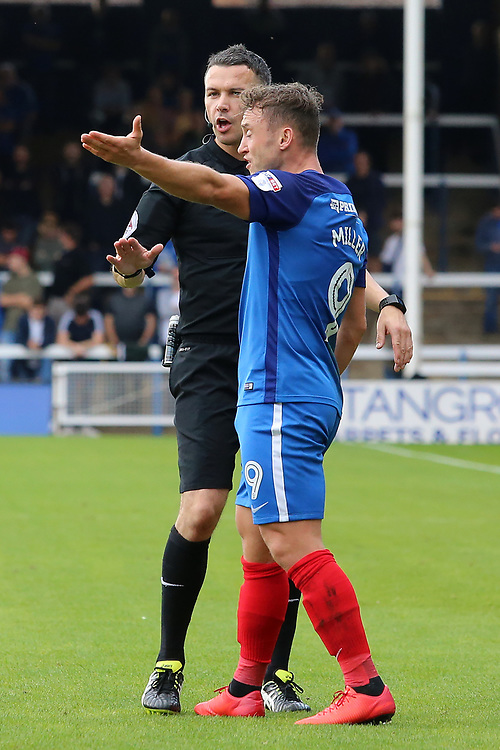 Peterborough United's Ricky Miller argues with Referee Dean Whitestone<br /> <br /> Photographer David Shipman/CameraSport<br /> <br /> The EFL Sky Bet League One - Peterborough United v Gillingham - Saturday 14th October 2017 - London Road Stadium - Peterborough<br /> <br /> World Copyright © 2017 CameraSport. All rights reserved. 43 Linden Ave. Countesthorpe. Leicester. England. LE8 5PG - Tel: +44 (0) 116 277 4147 - admin@camerasport.com - www.camerasport.com
