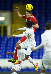 LONDON, ENGLAND - Wednesday, February 1, 2012: Liverpool's captain Conor Coady in action against Tottenham Hotspur's Shaquile Coulthirst during the NextGen Series Quarter-Final match at White Hart Lane. (Pic by David Rawcliffe/Propaganda)