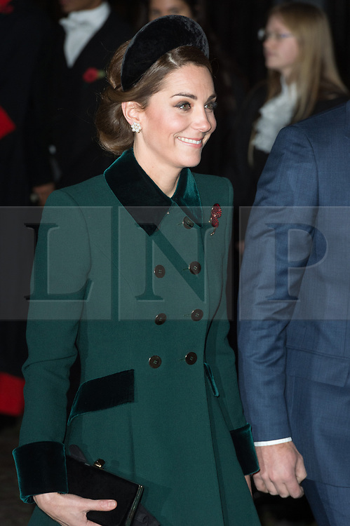 © Licensed to London News Pictures. 11/11/2018. London, UK. The Duchess of Cambridge attends a Westminster Abbey Service to mark the Centenary of the Armistice ending World War I. Photo credit: Ray Tang/LNP