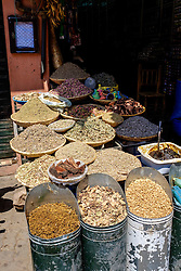 Herbs and spices for sale at a srall in the medina in Marrakech, Morocco, North Africa<br /> <br /> (c) Andrew Wilson | Edinburgh Elite media