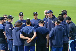 Head coach of Gloucestershire County Cricket, Richard Dawson leads a team talk ahead of the game against Middlesex - Photo mandatory by-line: Dougie Allward/JMP - Mobile: 07966 386802 - 15/05/2015 - SPORT - Cricket - Bristol - Bristol County Ground - Gloucestershire County Cricket v Middlesex County Cricket - NatWest T20 Blast