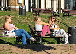 © Licensed to London News Pictures. 08/09/2020. London, UK. After the wind and rain, members of the public enjoy the sunshine along the River Thames in Richmond in South West London as a mini heatwave for September hits the South East this week with temperatures predicted to reach up to 24c today. Photo credit: Alex Lentati/LNP