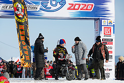 Jet powered bike at the Baikal Mile Ice Speed Festival opening ceremonies where participants on the big stage were introduced to the crowd one at a time. Maksimiha, Siberia, Russia. Saturday, February 29, 2020. Photography ©2020 Michael Lichter.
