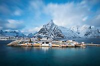 Winter view over Colorful rorbu cabins of Sakrisøy, Reine, Moskenesøy, Lofoten Islands, Norway