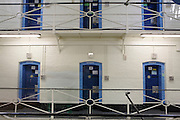 Cell doors over two floors on E wing at Wandsworth Prison..HMP Wandsworth in South West London was built in 1851 and is one of the largest prisons in Western Europe. It has a capacity of 1456 prisoners.