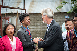 14 September 2018, Damak, Nepal: Rev. Dr Martin Junge meets Ramchandra Chapagai, chief coordinator of the Bhutanese Refugee Children Forum in the Beldangi refugee camp in the Jhapa district of Nepal, which hosts more than 5,000 Bhutanese refugees. On 12-19 September 2018, the Lutheran World Federation General Secretary Rev. Dr Martin Junge visits Nepal. He will participate in the 75th anniversary celebrations of the Nepal Evangelical Lutheran Church, an LWF member church, and visit development projects run by the church. He will also visit the LWF country program, which is involved in humanitarian relief and development work in a range of areas, supporting refugees, offering relief work to those most affected by the 2015 earthquake, flood victims, among other projects.