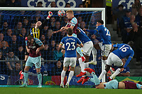 Football - 2021 / 2021 Premier League - Everton vs Burnley - Goodison Park - Monday 13th September 2021<br /> <br /> <br /> Everton's Jordan Pickford saves the heed ball from Burnley's Ben Mee<br /> <br /> <br /> <br /> Credit COLORSPORT/Terry Donnelly