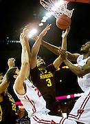 Forward Jordan Murphy (3) goes up for a basket during the first half of the University of Minnesota Men's Basketball game versus University of Wisconsin on March 5, 2017.
