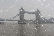 Tower Bridge during snow fall in London, England on March 2nd, 2018 as freezing weather conditions dubbed the Beast from the East combined with Storm Emma have brought snow and freezing weather to the UK.