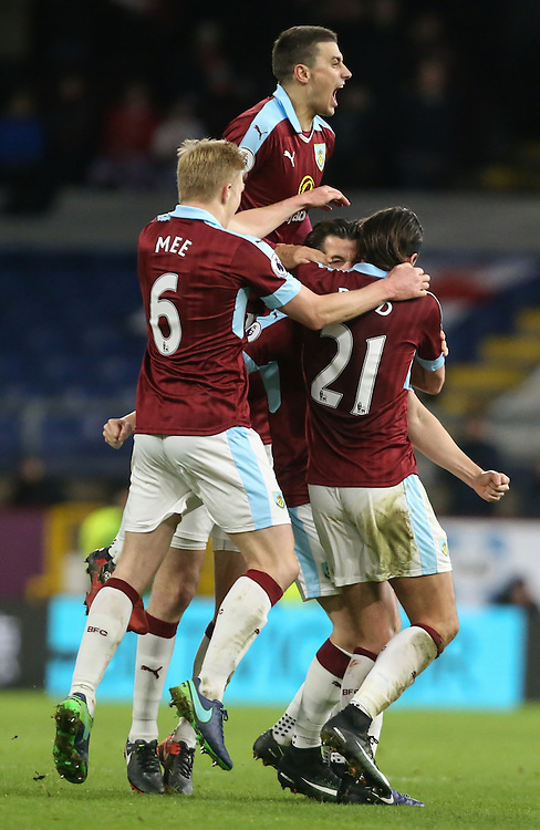 Burnley players mob Joey Barton after he scored the winner from a freekick<br /> <br /> Photographer Alex Dodd/CameraSport<br /> <br /> The Premier League - Burnley v Southampton - Saturday 14th January 2017 - Turf Moor - Burnley<br /> <br /> World Copyright © 2017 CameraSport. All rights reserved. 43 Linden Ave. Countesthorpe. Leicester. England. LE8 5PG - Tel: +44 (0) 116 277 4147 - admin@camerasport.com - www.camerasport.com