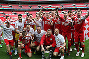 North Shields celebrate during the FA Vase Final between Glossop North End and North Shields at Wembley Stadium, London, England on 9 May 2015. Photo by Phil Duncan.