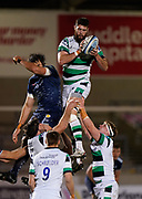 Newcastle Falcons Lock Greg Peterson catches a line out during a Gallagher Premiership Round 12 Rugby Union match, Friday, Mar 05, 2021, in Eccles, United Kingdom. (Steve Flynn/Image of Sport)