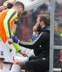Damage down after Ross County's manager Jim McIntrye over at the dug out after kicking a water bottle. Dundee 1 v 1 Ross County, SPFL Ladbrokes Premiership played 13/5/2017 at Dens Park.