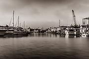 Docked Yachts at Newport Beach Harbor