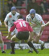 Watford,  Hertfordshire, Parker Pen  Rugby Cup, 12th December 2002, [Mandatory Credit: Peter Spurrier/Intersport Images],<br /> Parker Pen - European Cup - Vicarage Road - <br /> Saracens v Colomiers<br /> Vincent Clement with the ball