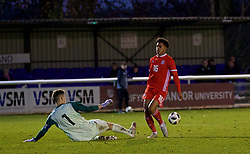 BANGOR, WALES - Saturday, November 17, 2018: Sweden's goalkeeper Samuel Brolin saves a shot from Wales' Christian Norton during the UEFA Under-19 Championship 2019 Qualifying Group 4 match between Sweden and Wales at the Nantporth Stadium. (Pic by Paul Greenwood/Propaganda)
