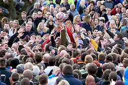 © London News Pictures. 04/03/2014. Ashbourne, UK. The ball in play. Two teams, the Up'Ards and the Down'Ards, fight for the ball during the first day of the Royal Shrovetide Football match in Ashbourne, Derbyshire. For two days, over Shrove Tuesday and Ash Wednesday, hundreds of participants battle it out in a 'no rules' game dating back to the 17th Century where the aim is to get a ball into one of two goals that are positioned three miles apart at either end of Ashboune. Photo credit: Ben Cawthra/LNP