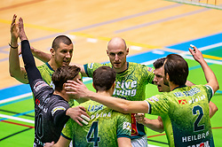Adam White of Orion, Jasper Diefenbach of Orion celebrate during the semi cupfinal between Active Living Orion vs. Amysoft Lycurgus on April 03, 2021 in Saza Topsportshall Doetinchem