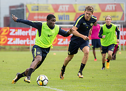 22.06.2015, Sportplatz, Fuegen, AUT, Trainingslager, BSC Young Boys, im Bild v.l.n.r.: Roger Assalé (Young Boys Bern) und Christian Fassnacht (Young Boys Bern) // during the trainingscamp of Swiss Superleague club BSC Young Boys at the Sportplatz in Fuegen, Austria on 2015/06/22. EXPA Pictures © 2017, PhotoCredit: EXPA/ Jakob Gruber