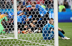 SOCHI, July 7, 2018  Goalkeeper Igor Akinfeev of Russia is seen after the 2018 FIFA World Cup quarter-final match between Russia and Croatia in Sochi, Russia, July 7, 2018. Croatia won 6-5 (4-3 in penalty shootout) and advanced to the semi-finals. (Credit Image: © Cao Can/Xinhua via ZUMA Wire)