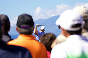 January 10 2016: Jimmy Walker through the crowd on the first tee during the Final Round of the Hyundai Tournament of Champions at Kapalua Plantation Course on Maui, HI. (Photo by Aric Becker)
