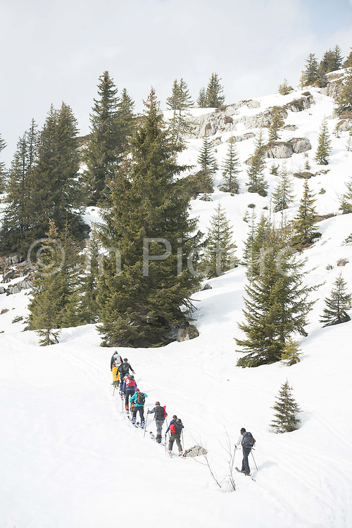 Ski toruing group in the Vallée de la Manche in Morzine / Portes du Soleil ski area on 22nd March 2017 in France