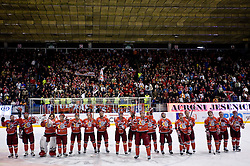Players of Jesenice celebrate at the end of the 14th Round of EBEL league  ice hockey match between HK Acroni Jesenice and HDD Tilia Olimpija Ljubljana, on October 16, 2009, in Arena Podmezakla, Jesenice. Acroni Jesenice won 7:5. (Photo by Vid Ponikvar / Sportida)