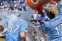 July 23, 2017 - Kansas City, MO, USA - Kansas City Royals' Salvador Perez delivers the victory splash on Brandon Moss after his walk-off game winning hit for a 5-4 win over the Chicago White Sox on Sunday, July 23, 2017 at Kauffman Stadium in Kansas City, Mo. (Credit Image: © John Sleezer/TNS via ZUMA Wire)