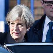 UK Prime Minister Theresa May in leaves Govan Police Station in Glasgow after meetings with senior police.<br /> March 27th 2017 in Glasgow, Scotland.