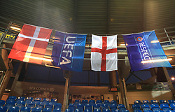 Denmark and England flags on display before the international friendly match at the Blue Water Arena, Esbjerg.