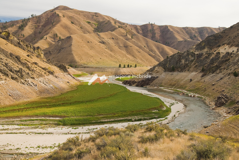 Upstream of the Lucky Peak Dam and reservoir.  Middle Fork of the Boise River, Idaho.