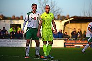 Havant & Waterlooville Lee Molyneaux (6) and Bognor Regis Town defender Ed Sanders (6) square up in defence during the Ryman Premier League match between Bognor Regis Town and Havant & Waterlooville FC at Nyewood Lane, Bognor, United Kingdom on 26 December 2016. Photo by Jon Bromley.