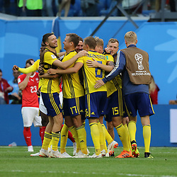 July 3, 2018 - Russia - July 03, 2018, St. Petersburg, FIFA World Cup 2018 Football, the playoff round. Football match of Sweden - Switzerland at the stadium of St. Petersburg. Player of the national team Goal; joy; victory; Champions; winner. (Credit Image: © Russian Look via ZUMA Wire)