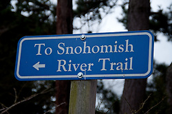 Snohomish River Trail Sign, Snohomish, Washington, US