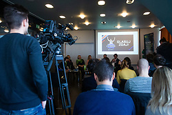 Press conference for collaboration between Slovenian tourist organisation I feel Slovenia and NBA basketball club Dallas Mavericks, 16 January, 2020, Ljubljana, Slovenia. Photo By Grega Valancic / Sportida