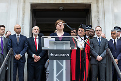 © Licensed to London News Pictures. 19/06/2018. London, UK. Shadow Foreign Secretary and MP for Islington South and Finsbury Emily Thornberry (centre) joins politicians, community and faith leaders, and members of Islington Council for a minute's silence on the steps of Islington Town Hall to mark the first anniversary of the Finsbury Park Attack. Photo credit: Rob Pinney/LNP