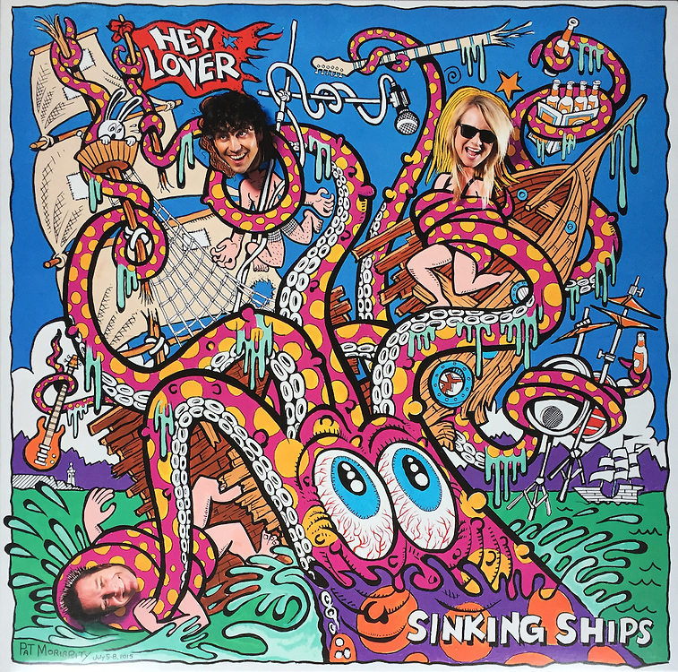 """Hey Lover """"Sinking Ships"""" album cover, shot in Astoria, OR. Art by Pat Moriarty"""