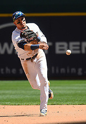 June 13, 2018 - Milwaukee, WI, U.S. - MILWAUKEE, WI - JUNE 13: Milwaukee Brewers Infield Hernan Perez (14) throws to 1st during a MLB game between the Milwaukee Brewers and Chicago Cubs on June 13, 2018 at Miller Park in Milwaukee, WI. The Brewers defeated the Cubs 1-0.(Photo by Nick Wosika/Icon Sportswire) (Credit Image: © Nick Wosika/Icon SMI via ZUMA Press)