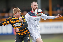 Alloa Athletic's Ryan McCord and Falkirk's Joe Chalmers.<br /> half time : Alloa Athletic 0 v 0 Falkirk, Scottish Championship game played today at Alloa Athletic's home ground, Recreation Park.<br /> © Michael Schofield.