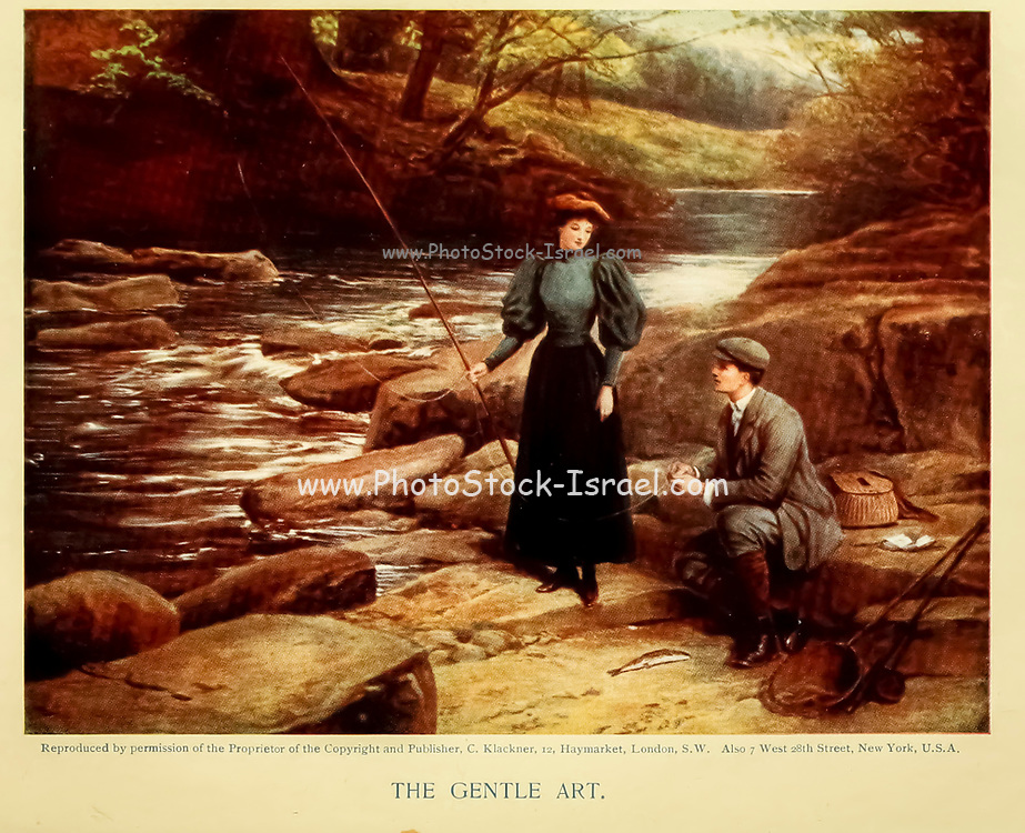 Fishing - The Gentle Art From the book ' English sport ' by Alfred Edward Thomas Watson, Published in London by Macmillan and Co. Limited and in New York by Macmillan Company. in 1903