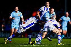 Jonny Hill of Exeter Chiefs is tackled by Geoffrey Palis of Castres Olympique and Jody Jenneker of Castres Olympique - Mandatory by-line: Ryan Hiscott/JMP - 13/01/2019 - RUGBY - Sandy Park Stadium - Exeter, England - Exeter Chiefs v Castres - Heineken Champions Cup