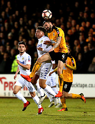 James Dunne of Cambridge United beats Kalvin Phillips of Leeds United to a header - Mandatory by-line: Robbie Stephenson/JMP - 09/01/2017 - FOOTBALL - Cambs Glass Stadium - Cambridge, England - Cambridge United v Leeds United - FA Cup third round