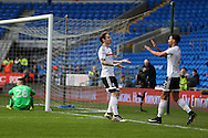 Stefan Johansen of Fullham (l)  celebrates after he scores his teams first goal to equalise at 1-1. The Emirates FA Cup, 3rd round match, Cardiff city v Fulham at the Cardiff city stadium in Cardiff, South Wales on Sunday 8th January 2017.<br /> pic by Andrew Orchard, Andrew Orchard sports photography.