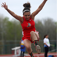 Jamestown's Ana Torres during the girls long jump competetion at Strider Field 5-1-12 photo by Mark L. Anderson